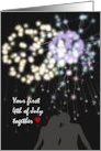 First 4th of July as newlyweds, Romantic fireworks card
