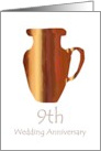 9th Pottery Wedding Anniversary Invitation, A fired clay jug card