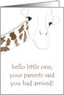 New baby congratulations to daughter and partner, cute giraffe card