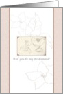 Be my Bridesmaid? Floral pencil sketch, pink patterned banners card