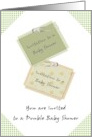 Double baby shower, Two little invitation notes card