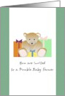 Invitation to a double baby shower, Teddy bear and presents card