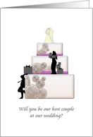 Be our host couple at our wedding, Host couple, bride and groom, wedding cake card
