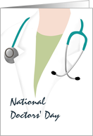 National Doctors' Day, Sketch of doctor with stethoscope round neck card