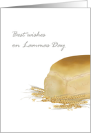 Lammas Day first harvest festival, Bread loaf and wheat stalks card