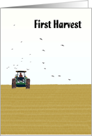 Lammas Day first harvest festival, Farmer on tractor working in wheat field card
