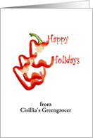 Customizable happy holidays from greengrocer, Slices of bell pepper card