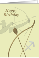 Sagittarius sign birthday, zodiac signs, Archer bow and arrow card