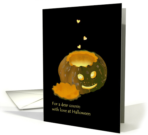 Halloween for cousin, lit pumpkin and glowing hearts card (1068049)
