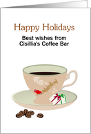 Customizable Christmas coffee, santa reindeer cup and gift wrapped sugar cubes card
