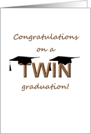 Graduation for twins, Two graduation caps on word twin card