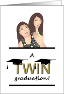 Graduation for Twin Girls, Two Graduation Caps on Word Twin card