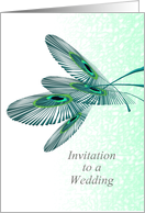 Wedding invitation, peacock feathers in abstract card