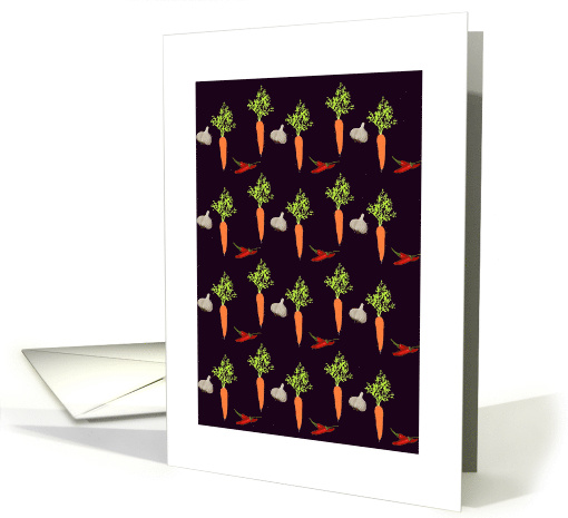Carrots, cloves of garlic and chillis, Blank note card (1116146)