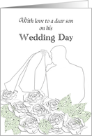 Wedding congratulations from mother to son, bride and groom kissing card