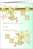 Wedding congratulations from mother to son, abstract florals in green and gold card