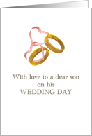 Wedding congratulations mother to son gold rings tied together card
