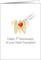 1st anniversary of heart transplant, new heart in rib cage card