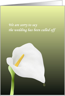 Wedding Called Off, Drop of Water Running off Calla Lily Flower card