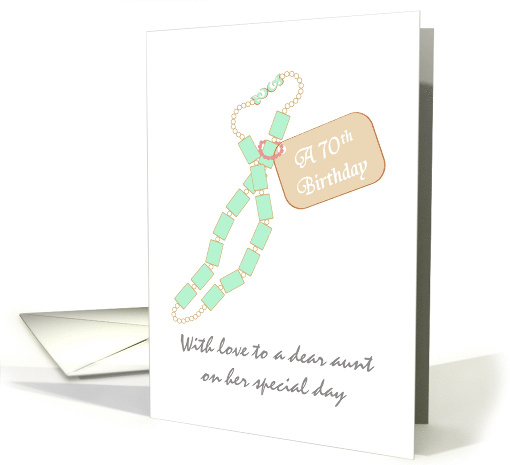 Aunt's 70th birthday, pretty blue necklace card (1267488)