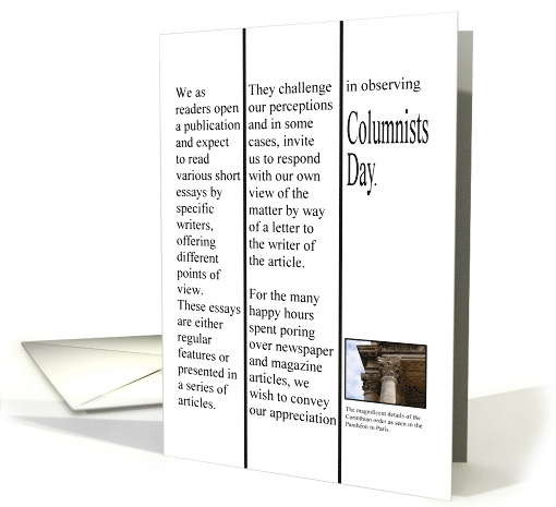 Columnists Day, a column in the papers card (1275550)