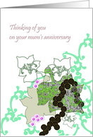 Remembering your Mum, Abstract Art in Green Pink and Black card