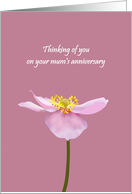 Thinking of You on Your Mum's Anniversary, Japanese Anemone card