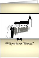 Be our witness invitation, couple and wedding guests outside church card