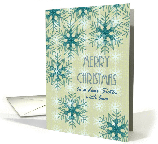 Christmas for sister, pretty snowflakes card (1317452)