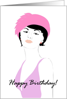 Red hat birthday, lady in pink hat and lavender dress card