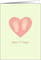 Baby's 1st steps, baby's cute little feet, congratulations card