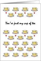 You're just my cup of tea, friendship, cups of tea and sugar cube card