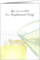 Invitation to a neighborhood party, whisky and champagne card