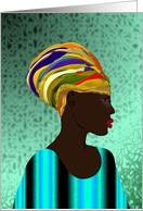Happy Kwanzaa, African lady in colorful attire, African art card