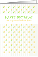 Birthday for volunteer, pretty little yellow flowers card