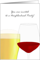 Neighborhood party invitation, glass of beer and glass of red wine card