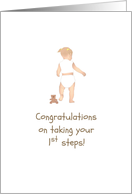 Congratulations on taking first steps, baby girl walking card