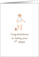 Congratulations on taking first steps, baby boy walking card