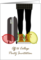 Off to college party invitation, young lady, suitcase and balloons card