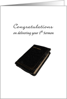 Congratulations on delivering 1st Sermon, the Bible card
