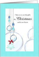 First Christmas alone bereaved, blue glass baubles card
