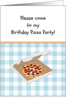 Birthday pizza party for kids, box of pizza on blue gingham card