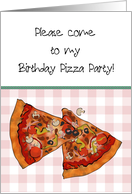 Birthday pizza party for kids, slices of yummy pizza on pink gingham card