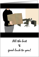Farewell female boss, lady carrying cardboard box standing in office card