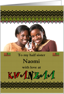 Photo card Kwanzaa for half sister, fancy borders kinara with candles card