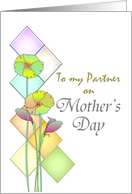Lesbian Mother's Day for partner, abstract florals card