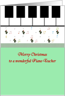 Christmas for piano teacher, piano keys holly sprigs music notes card