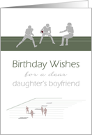 Birthday for daughter's boyfriend, football in play card