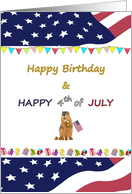 Birthday on Fourth of July, squirrel holding American flag and acorns card