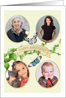 Birthday photocard for 4 photos, green foliage and pretty butterflies card